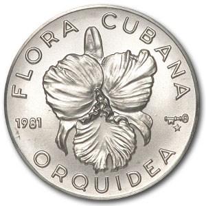 1981 Cuba Silver 5 Pesos Orquidea Flower BU