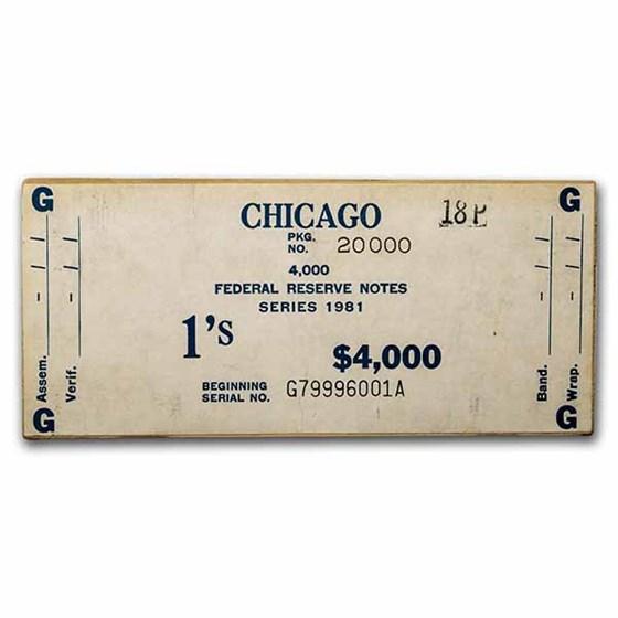 1981 (G-Chicago) $1 FRN CU (Fr#1911-G, 1st & Last Brick w/Label)