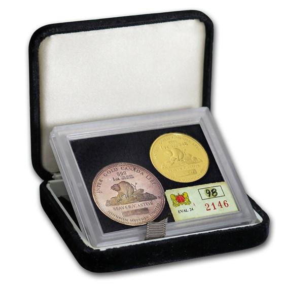 1981 Gold/Silver Round Set JM & Mallory (LTEE Beaver/Castor)