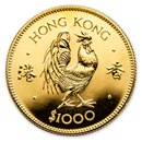 1981 Hong Kong Gold $1000 Year of the Rooster BU
