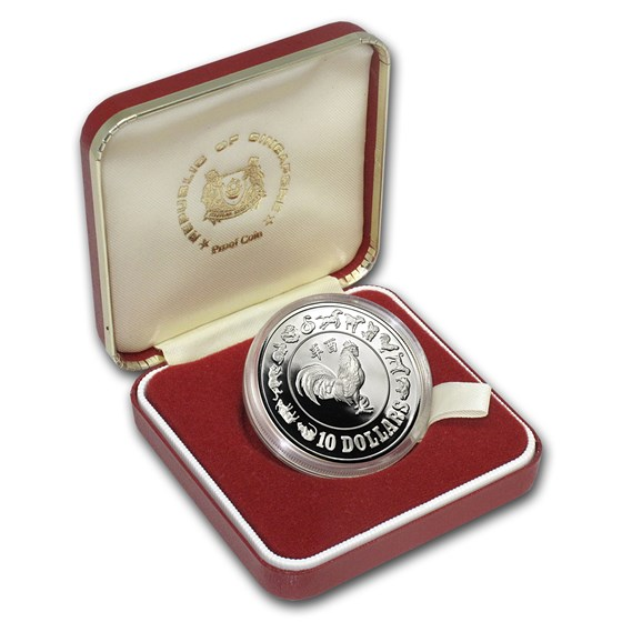 1981 Singapore Silver $10 Rooster Proof