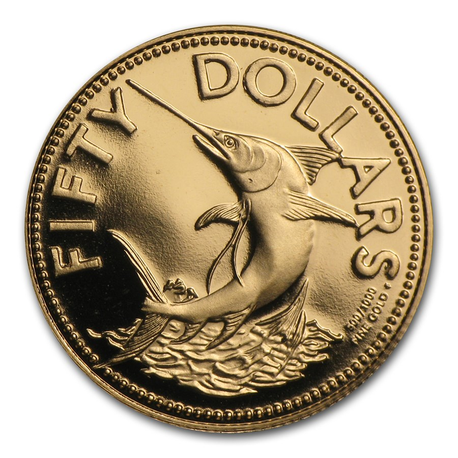 1982 Bahamas Proof Gold 50 Dollars Marlin