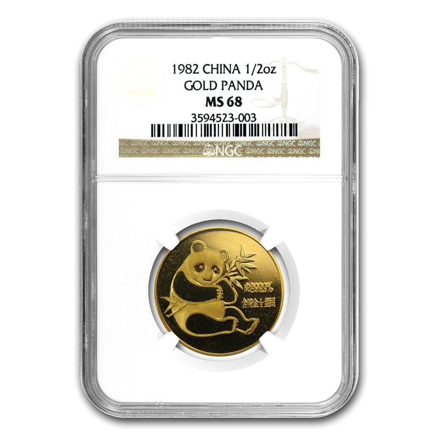 1982 China 1/2 oz Gold Panda MS-68 NGC