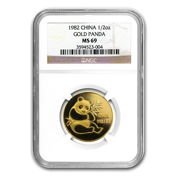 1982 China 1/2 oz Gold Panda MS-69 NGC