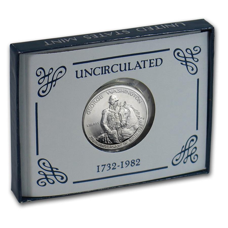 1982-D George Washington 1/2 Dollar Silver Commem BU (Box & COA)