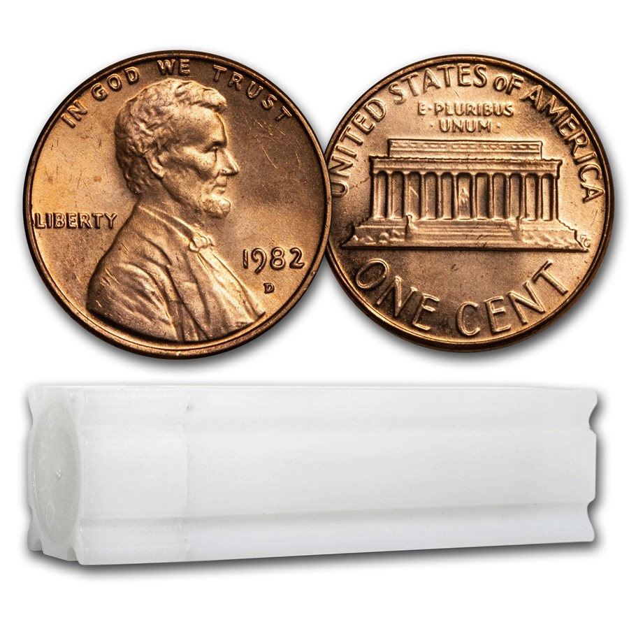 1982-D Lincoln Cent 50-Coin Roll BU (Large Date-Copper)