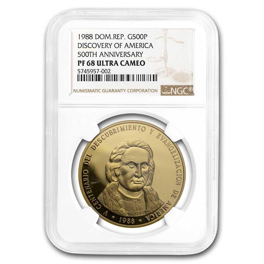 1982 Dominican Rep Gold 500 Pesos 500th Ann Columbus PF-68 NGC