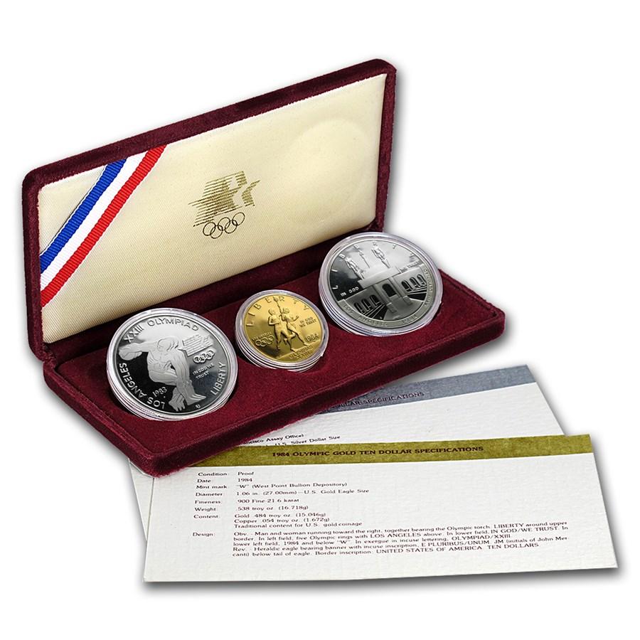 1983 & 1984 3-Coin Commem Olympic Proof Set (w/Box & COA)
