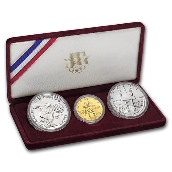 1983 & 1984 3-Coin Commem Olympic Set BU (w/Box & COA)