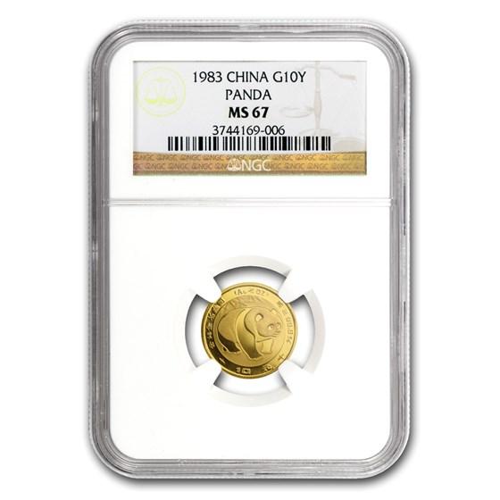 1983 China 1/10 oz Gold Panda MS-67 NGC