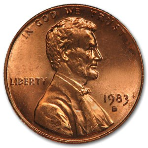 1983-D Lincoln Cent BU (Red)