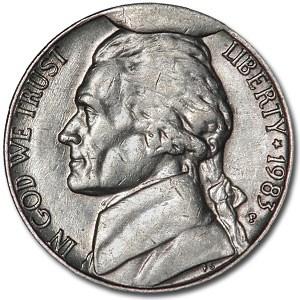 1983 Jefferson Nickel AU Obverse Cud