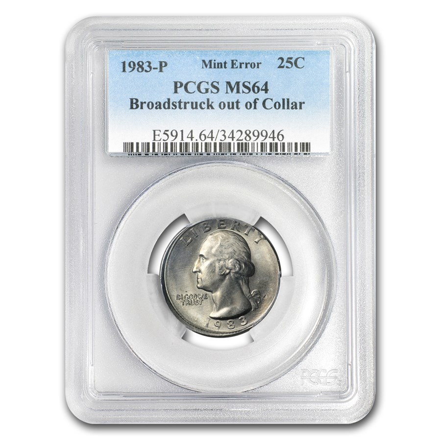 1983-P Washington Quarter MS-64 PCGS (Mint Error, Broadstruck)