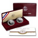 1983-S & 1984-S 2-Coin Olympic Proof Set (w/Box & COA)