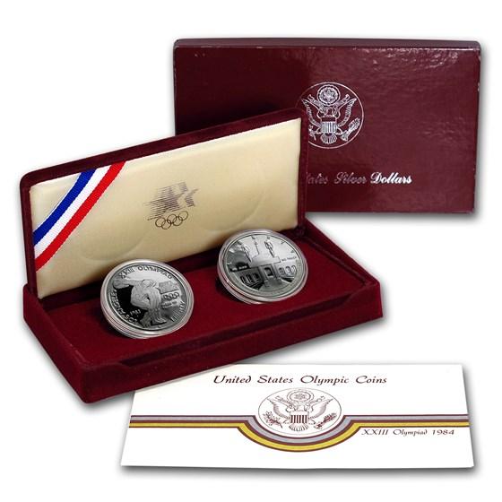 1983-S & 1984-S 2-Coin Olympic Proof Set (w/Box & COA)