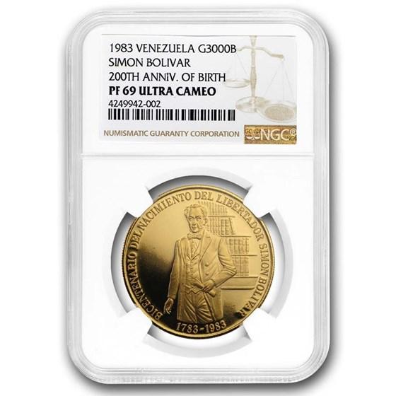 1983 Venezuela Gold 3000 Bolivares PF-69 NGC
