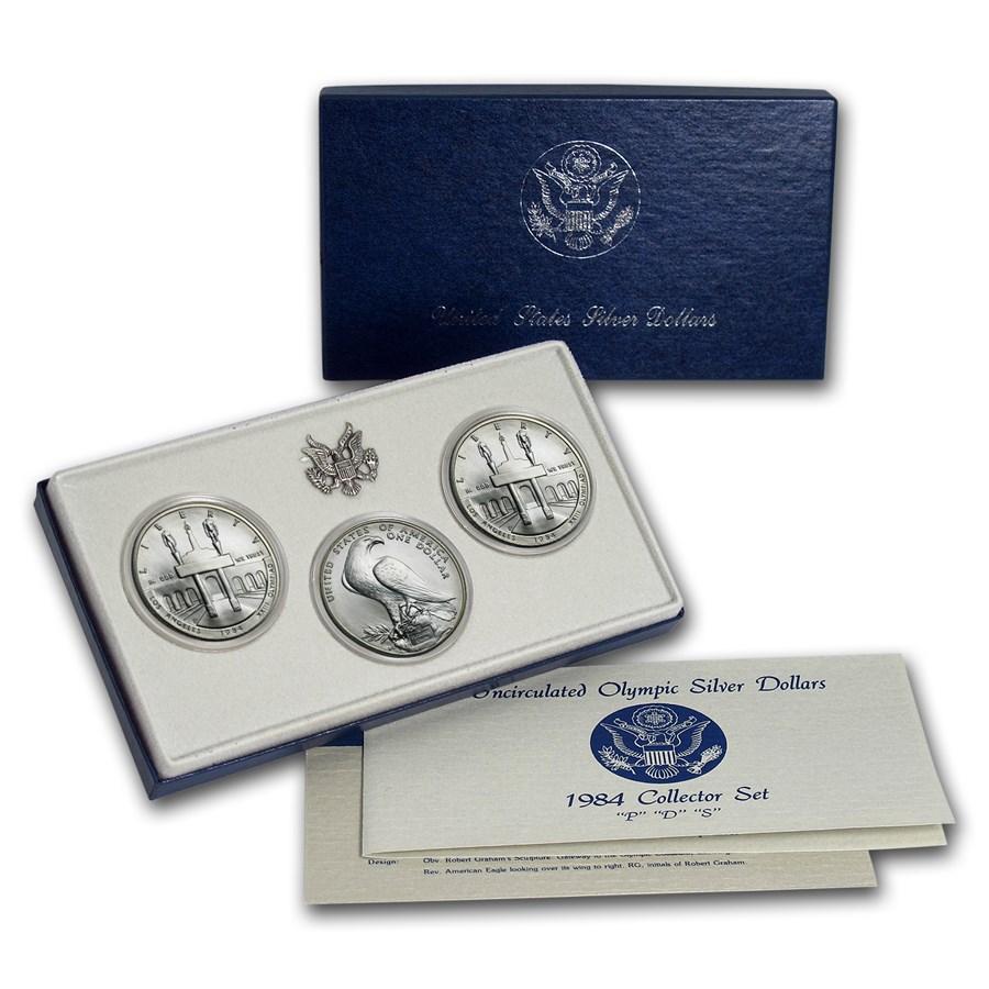 1984 3-Coin Olympic Set BU (P,D,S Dollars, w/Box & COA)