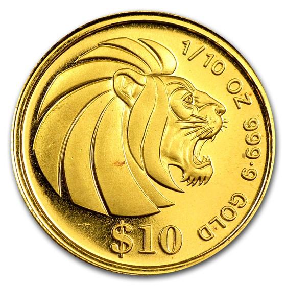1984-95 Singapore 1/10 oz Gold $10 Lion BU/Proof