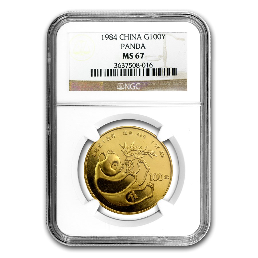 1984 China 1 oz Gold Panda MS-67 NGC