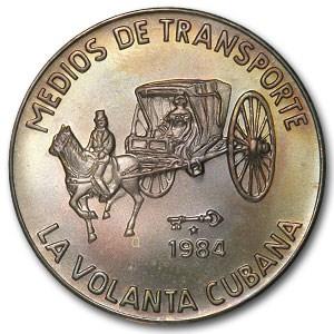 1984 Cuba Silver 5 Pesos Volanta Coach BU