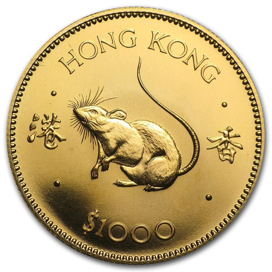 1984 Hong Kong Gold $1000 Year of the Rat BU