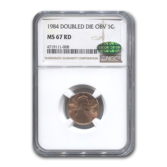 1984 Lincoln Cent Doubled Die Obverse MS-67 NGC CAC (Red)