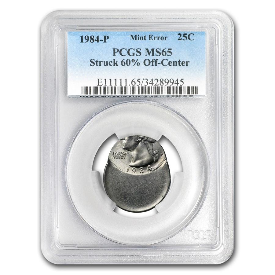 1984-P Washington Quarter MS-65 PCGS (Mint Error, 60% Off Center)