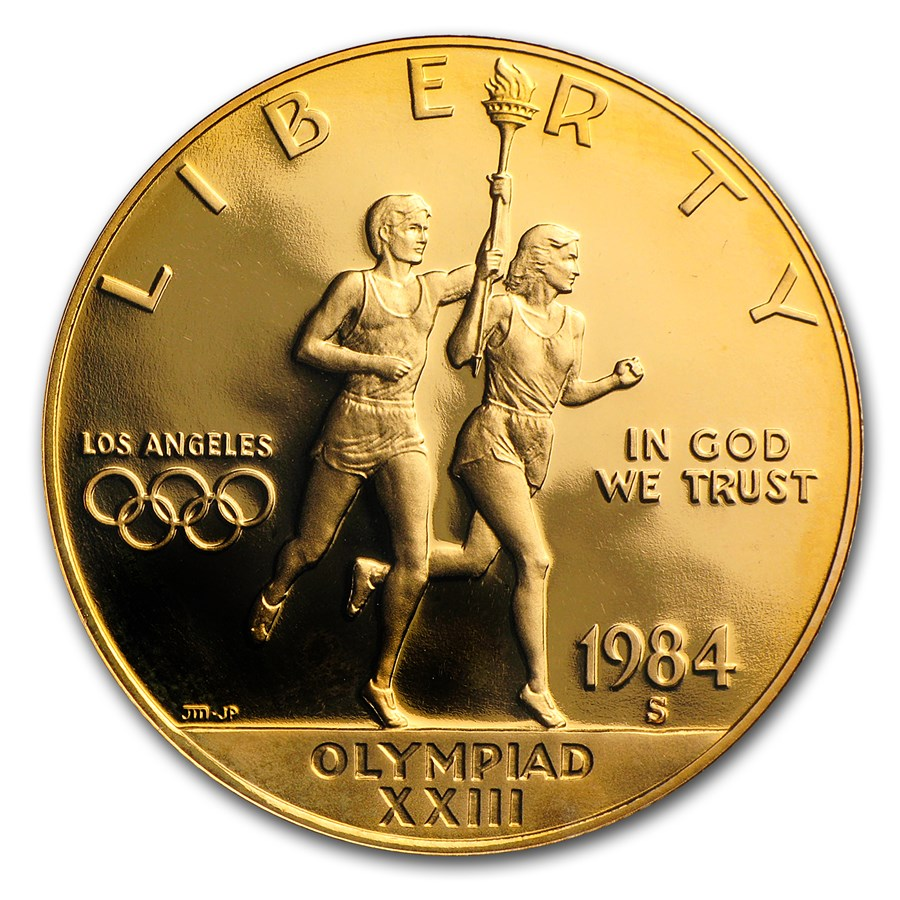 1984-S Gold $10 Commem Olympic Proof (w/Box & COA)