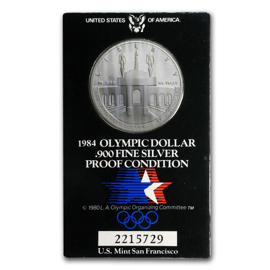 1984-S Olympic $1 Silver Commem (Original Olympic Holder)