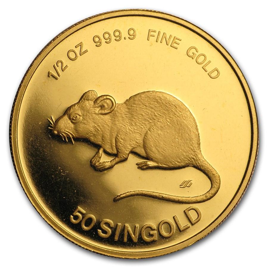 1984 Singapore 1/2 oz Proof Gold 50 Singold Rat
