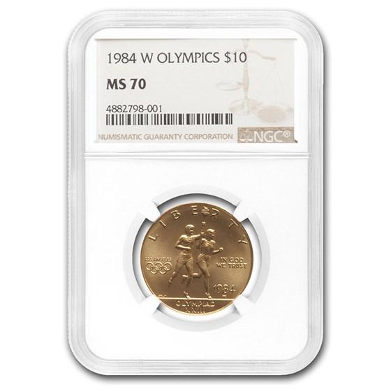 1984-W Gold $10 Commem Olympic MS-70 NGC