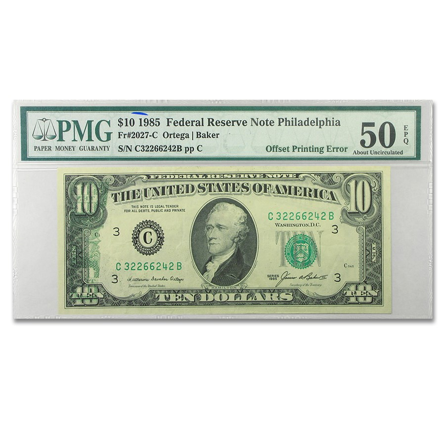 1985 (C-Philadelphia) $10 FRN AU-50 PMG (Offset Printing)
