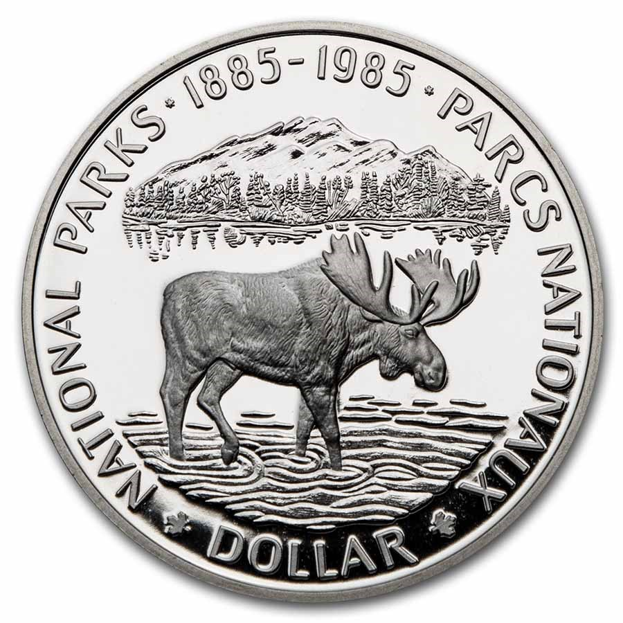 1985 Canada Silver Dollar Proof (National Parks Moose w/OGP)