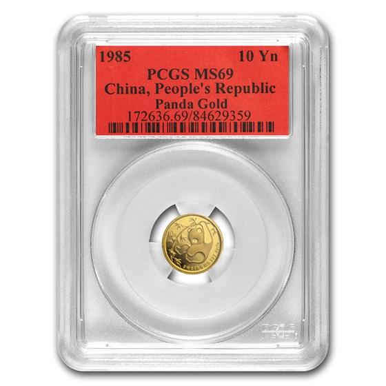 1985 China 1/10 oz Gold Panda MS-69 PCGS