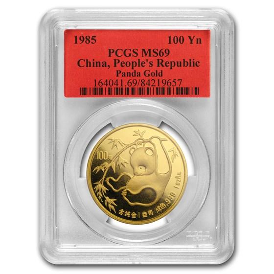 1985 China 1 oz Gold Panda MS-69 PCGS