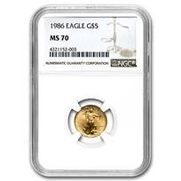 1986 1/10 oz American Gold Eagle MS-70 NGC