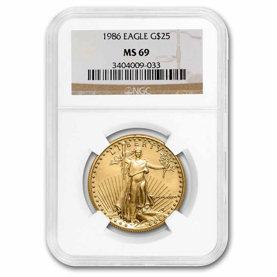 1986 1/2 oz American Gold Eagle MS-69 NGC