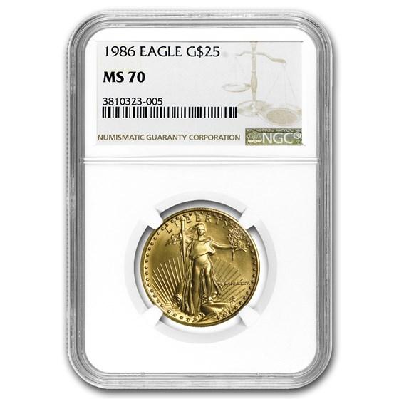 1986 1/2 oz American Gold Eagle MS-70 NGC