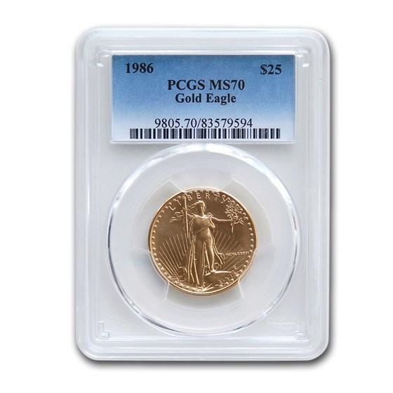 1986 1/2 oz American Gold Eagle MS-70 PCGS