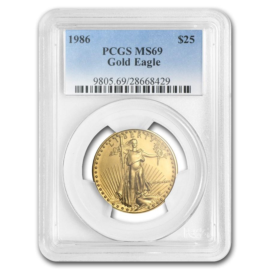 1986 1/2 oz Gold American Eagle MS-69 PCGS