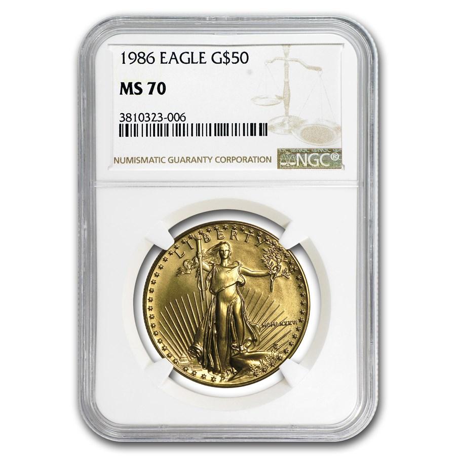 1986 1 oz American Gold Eagle MS-70 NGC