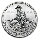 1986 1 oz Silver Round - Engelhard Prospector (Eagle Reverse)