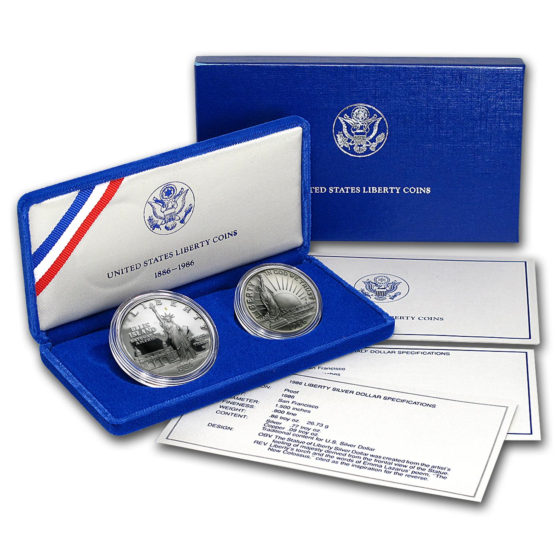 1986 STATUE OF LIBERTY UNC 2-COIN SET SILVER DOLLAR /& CLAD HALF w BOX /& COA