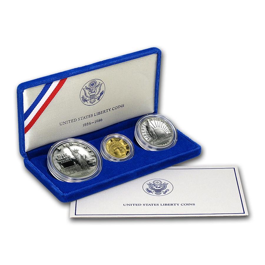 1986 3-Coin Commem Statue of Liberty Proof Set (w/Box & COA)