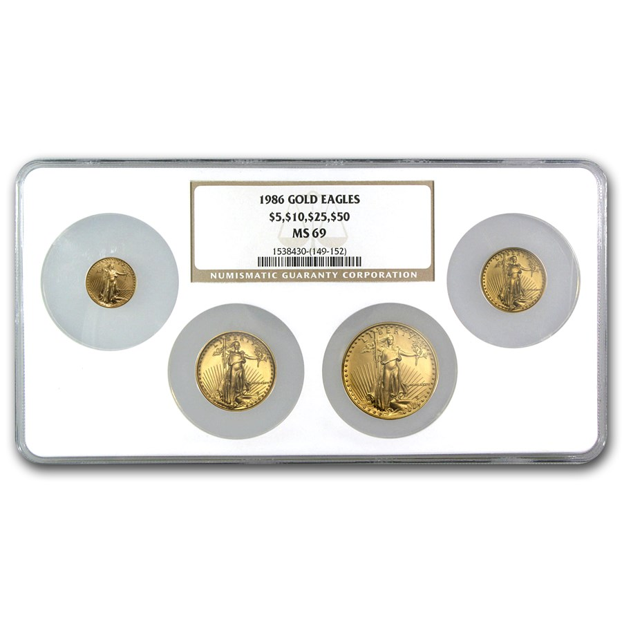 1986 4-Coin Gold American Eagle Set MS-69 NGC (Uni-Holder)