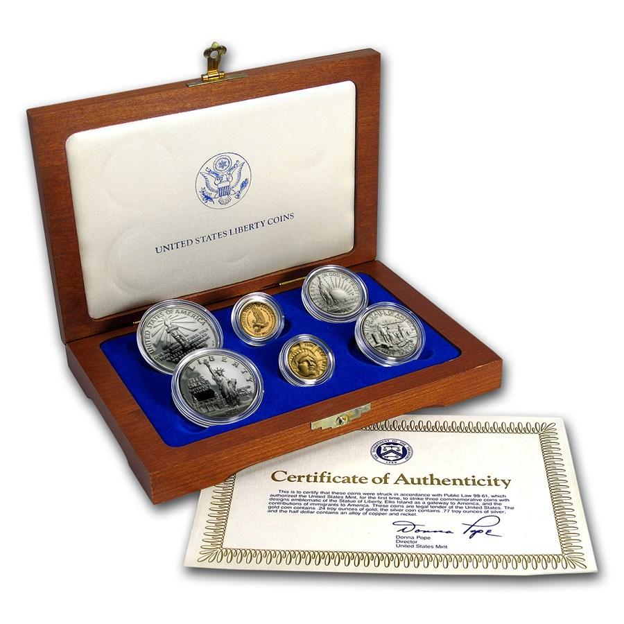 1986 6-Coin Commem Statue of Liberty Set BU & Proof (w/Box & COA)
