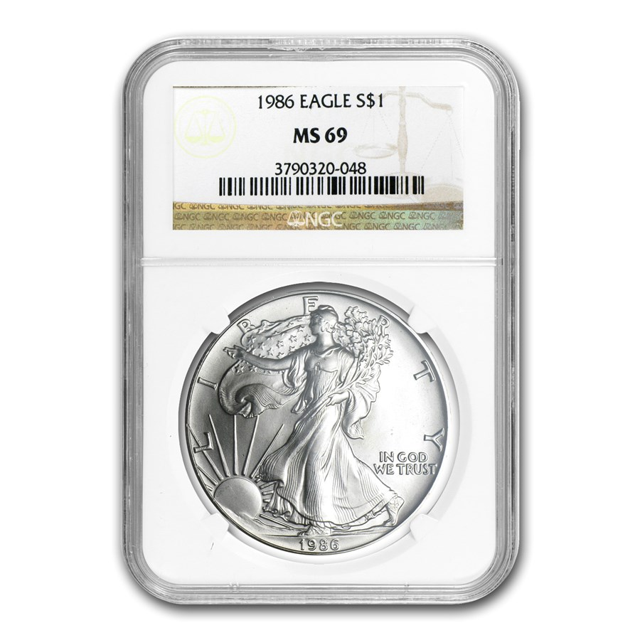 1986 American Silver Eagle MS-69 NGC