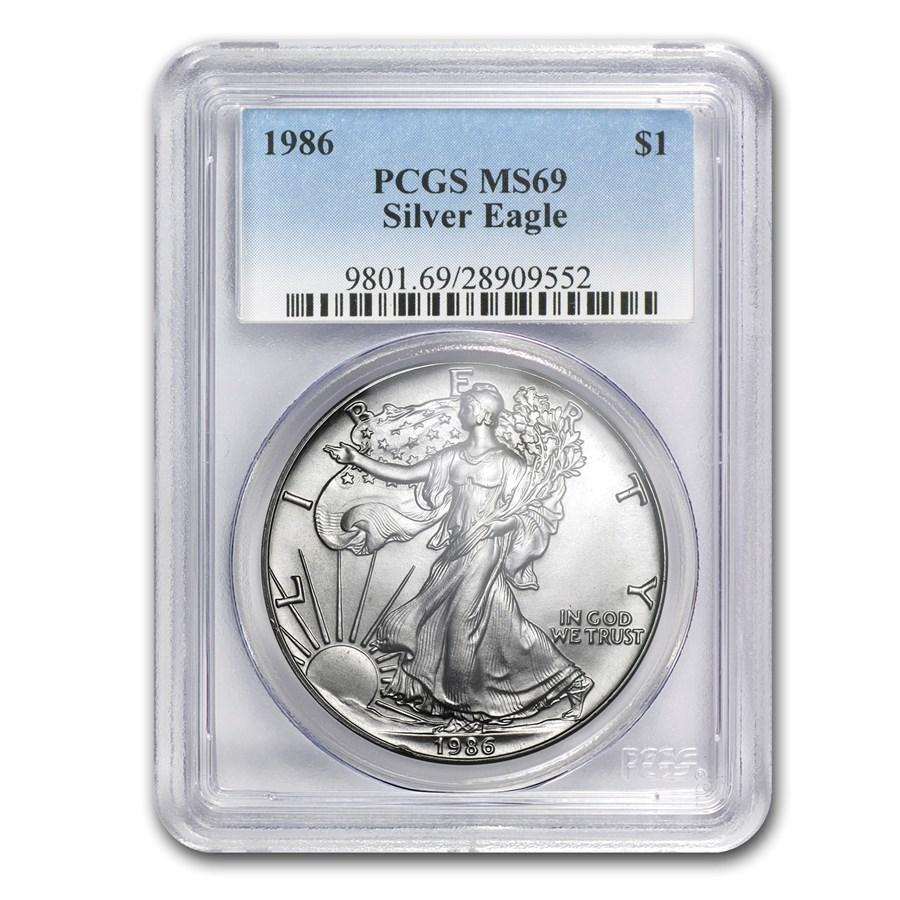 1986 American Silver Eagle MS-69 PCGS