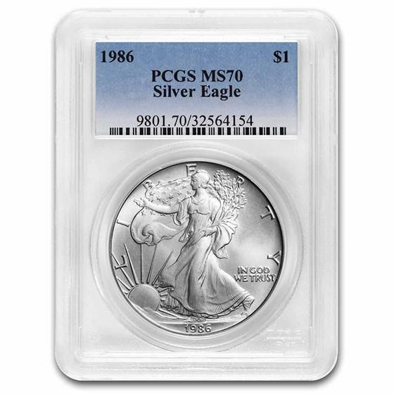 1986 American Silver Eagle MS-70 PCGS