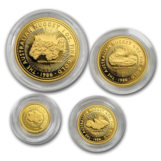 1986 Australia 4-Coin Gold Nugget Proof Set (w/o Box)
